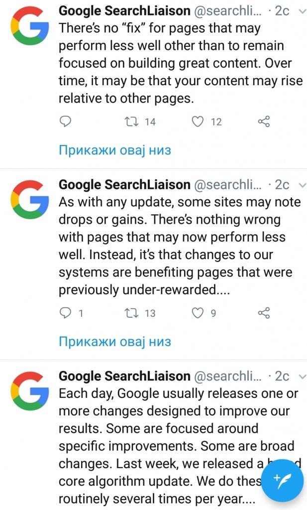 Google azuriranje algoritma
