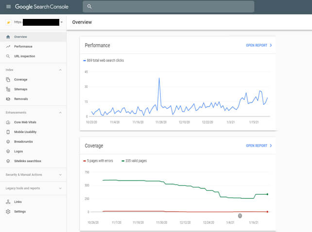 search console core web vitals seo